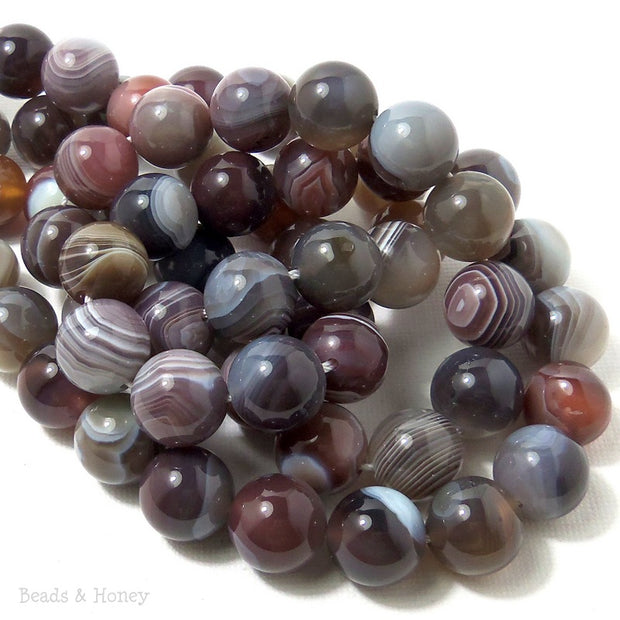 Botswana Agate Round Smooth 12mm (Half Strand)