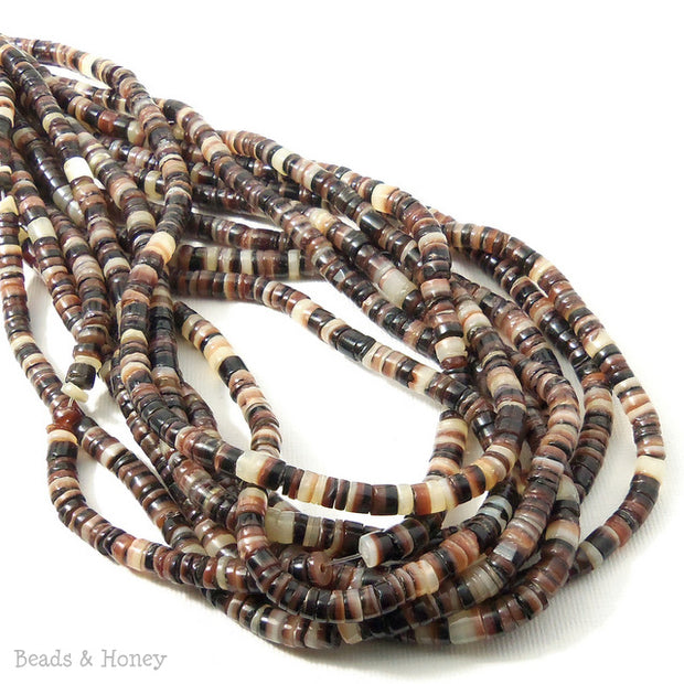 Brown Lip Shell Heishi 4-5mm (24 Inch Strand)