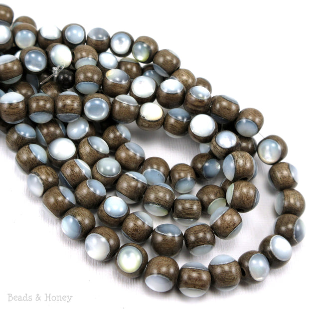 Graywood Bead with White Mother of Pearl Inlay Round 8mm (8-Inch Strand)