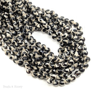 Fired Agate Bead Black Striped S Wave Faceted 6mm (15-Inch Strand)