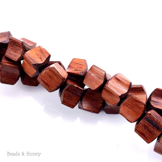 Bayong Wood Bead Cube/Cushion with Fluted Edge 12x12x12mm (8-Inch Strand)
