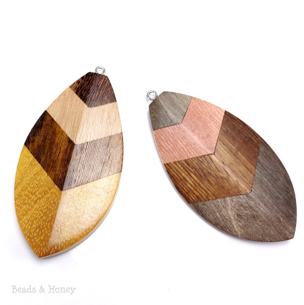Mosaic Mixed Wood Leaf/Feather/Shield Pendant with Stainless Steel Bail 70x35x7mm (1pc)
