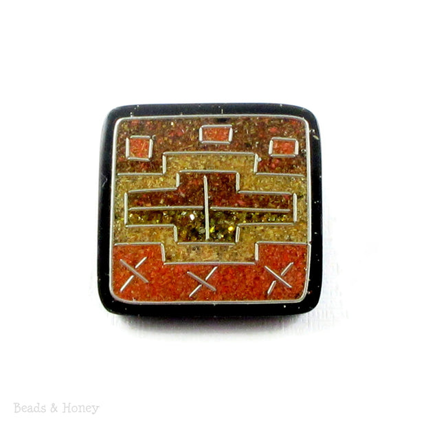 Vintage Sawdust Orange-Yellow Square Cabochon