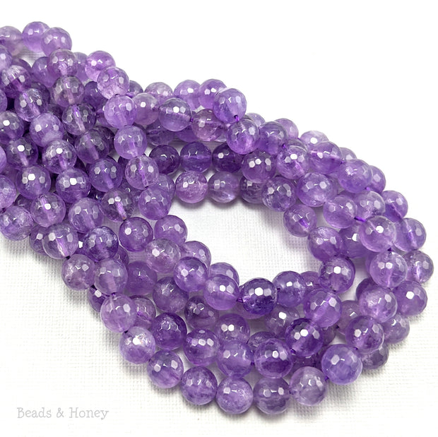 Amethyst Bead Light to Medium Purple Round Faceted 8mm (16-Inch Strand)