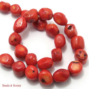 Red Orange Bamboo Coral Nugget 12x18mm (Full strand)