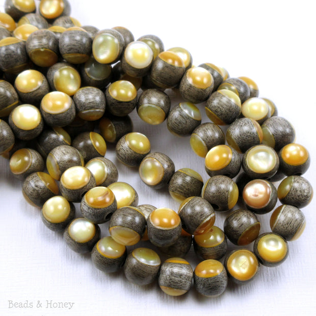 Graywood Bead with Gold Mother of Pearl Inlay Round 8mm (8-Inch Strand)