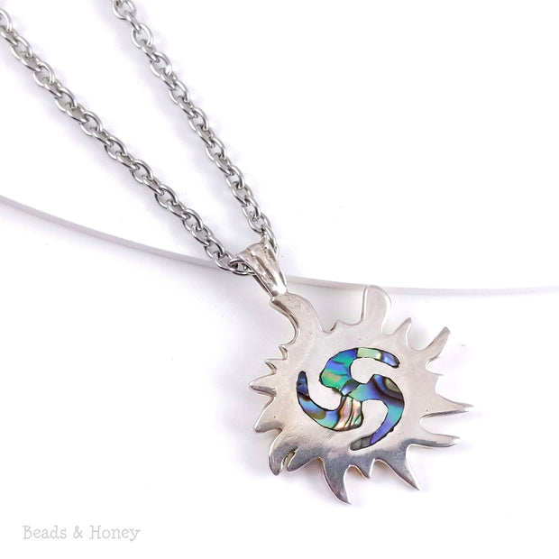 Handmade Sterling Silver Sun Pendant Inlaid with Abalone Shell - One of a Kind - 38x30mm (1pc)