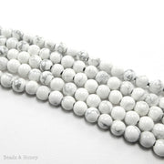 Dakota Stones Howlite Large Hole Bead Round 8mm (8-Inch Strand)