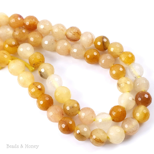 Dakota Stones Yellow Jade Large Hole Bead Round Faceted 8mm (8-Inch Strand)