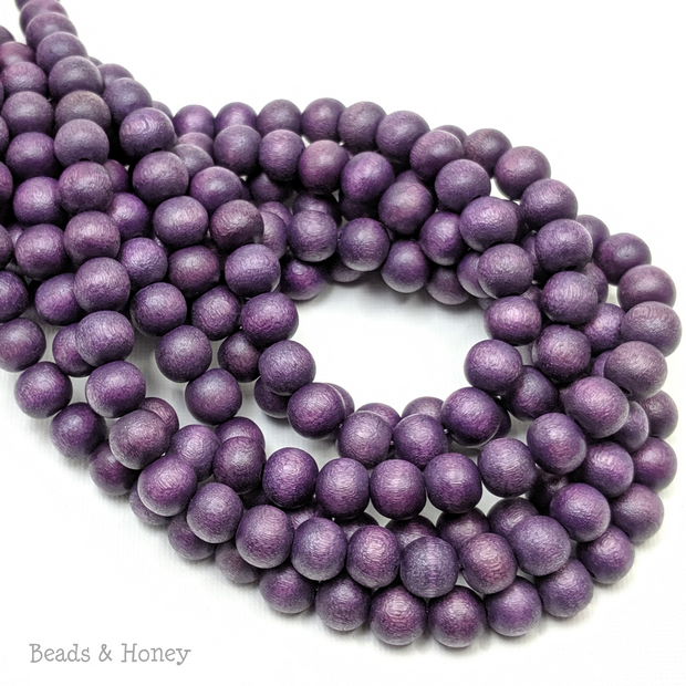 Dyed Wood Bead Dark Purple Round 8mm (16-Inch Strand)