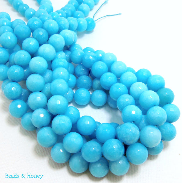 Dyed Agate Icy Light Blue Round Faceted 10mm (Full Strand)