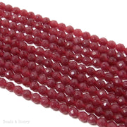 Ruby Dyed Jade Round Faceted 6mm (Full Strand)
