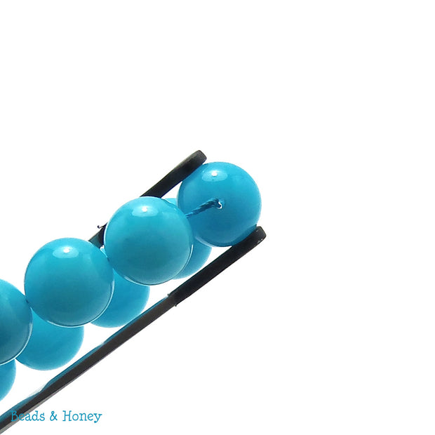 Dyed Jade Bead Bright Blue Round Smooth 12mm (Full Strand)
