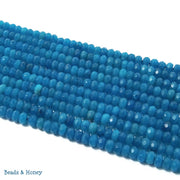 Bright Blue Dyed Jade Rondelle Faceted 4mm (Full Strand)