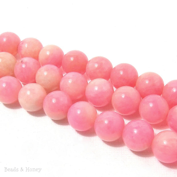 Pink Candy Jade Round Smooth 10mm (Full Strand)