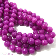 Magenta Dyed Jade Round Faceted 10mm (Full Strand)