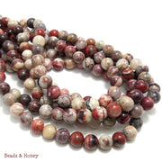 Red Silver Leaf Jasper Bead Round 6mm (16-Inch Strand)