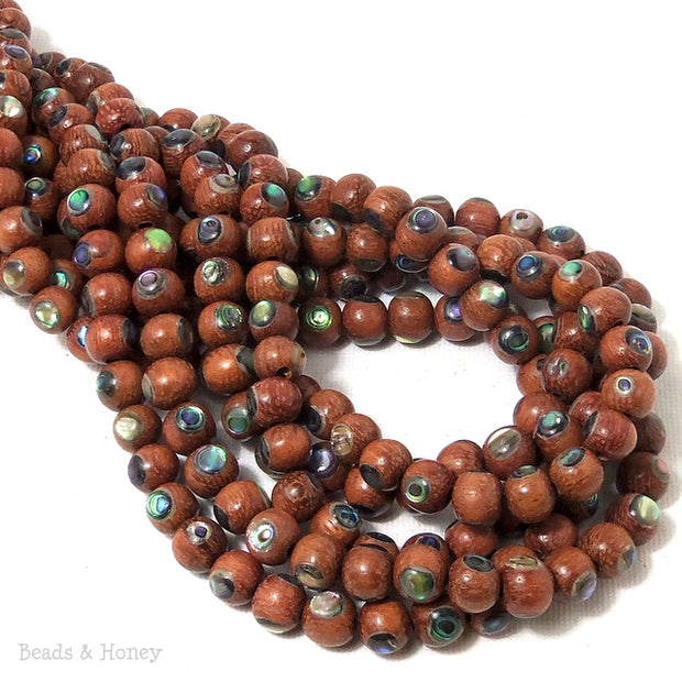 Bayong Wood Beads with Abalone Shell Inlay Round 7mm - 8mm (8-Inch Strand)
