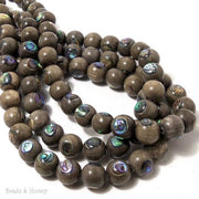 Graywood Beads with Abalone Shell Inlay Round 10mm (8-Inch Strand)