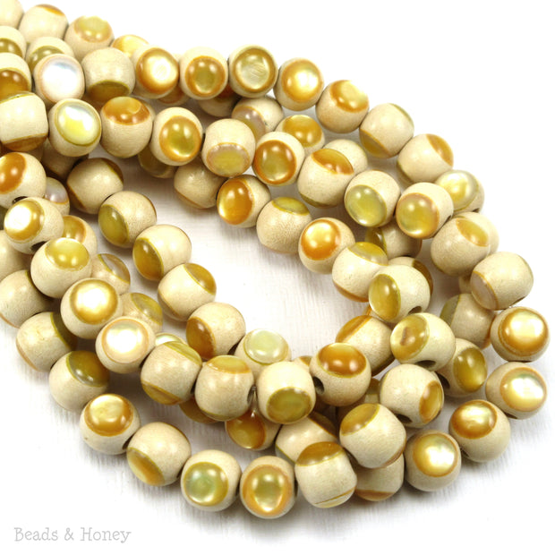 Whitewood Bead Natural with Gold Mother of Pearl Inlay Round 8mm (8-Inch Strand)