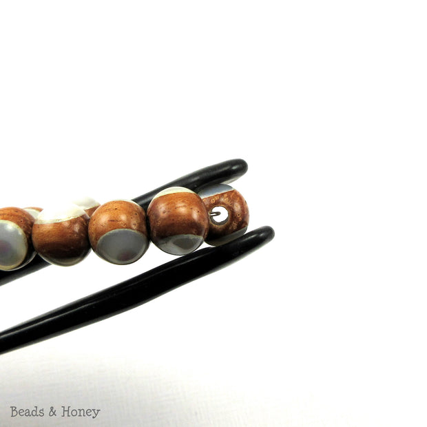 Bayong Wood Bead with White Mother of Pearl Inlay Round 8mm (8-Inch Strand)
