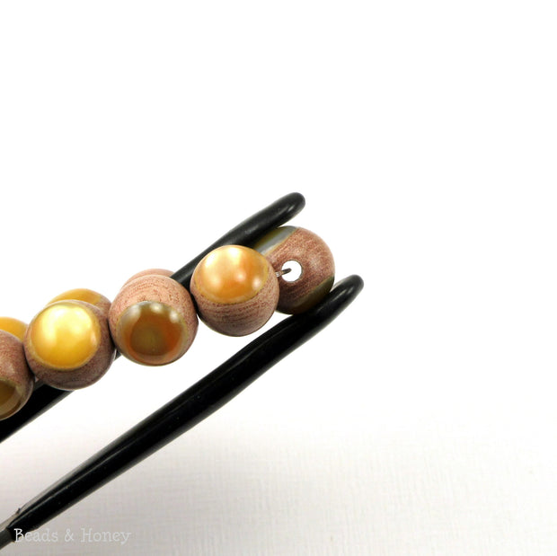 Rosewood Bead with Gold Mother of Pearl Inlay Round 10mm (8-Inch Strand)