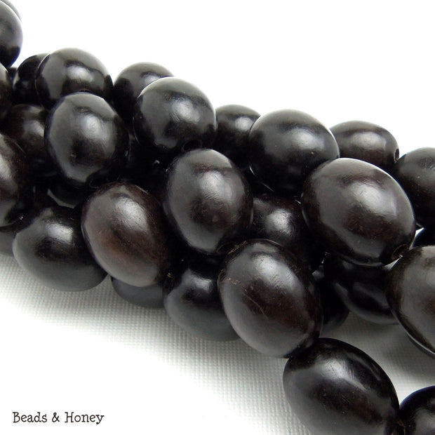Ebony Wood Oval Puffed 17x19mm (Half Strand)