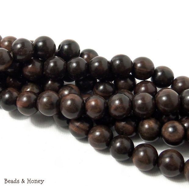 Tiger Ebony Wood Round 10mm (16-Inch Strand)