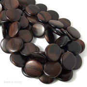Ebony Wood Coin 24mm (Full Strand)