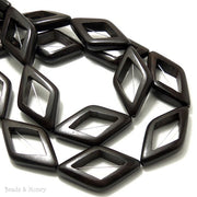 Ebony Wood Bead Open Diamond 22x38mm (5pcs)