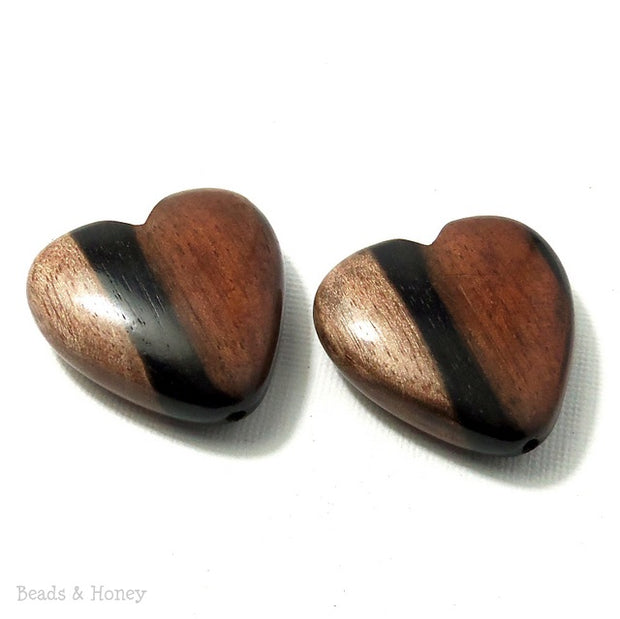 Tiger Ebony Wood Heart Focal Bead 30mm (2pcs)