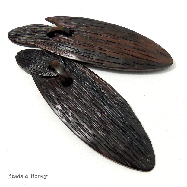 Ebony Wood Hand Carved Focal Bead for Earrings or Pendant (32x100mm)