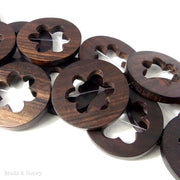 Ebony Wood Flat Coin with Flower Cut Out (5pcs)