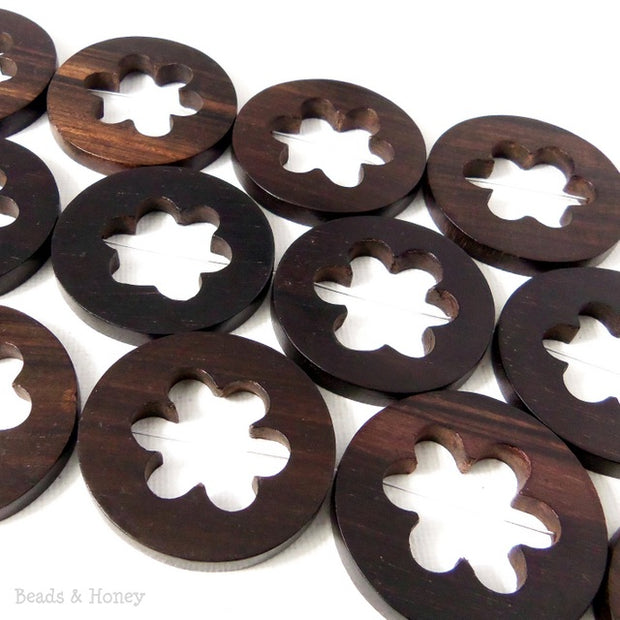 Ebony Wood Flat Coin with Flower Cut Out (6pcs)