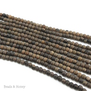 Unfinished Ebony Wood Brown/Banded Round 4mm - 5mm (16 Inch Strand)