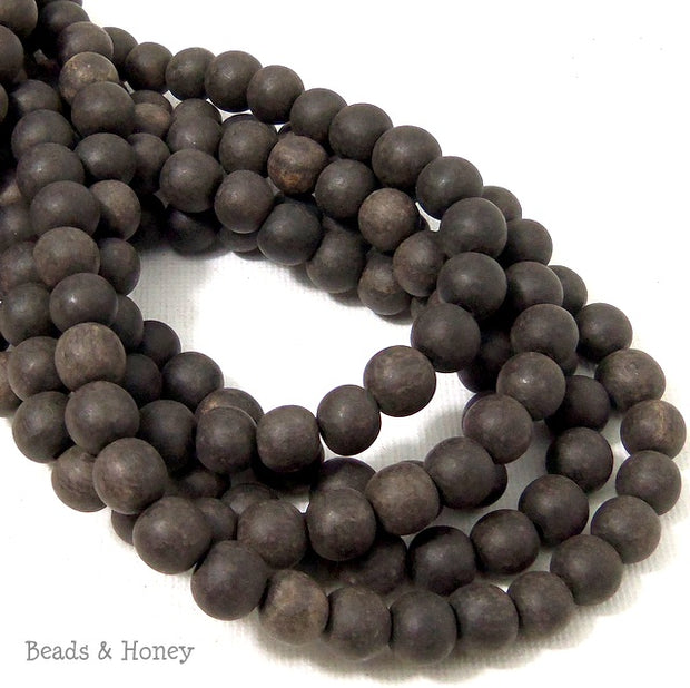 Unfinished Ebony Wood Beads Round 8mm  (16 Inch Strand)