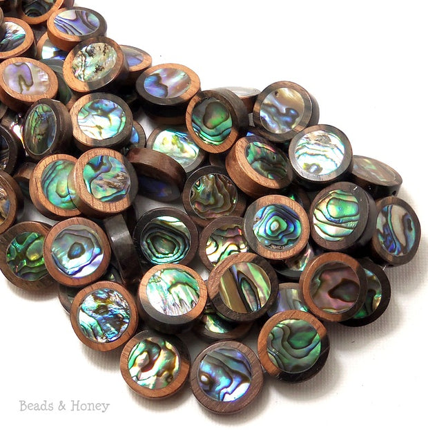 Ebony Wood with Abalone Shell Coin Flat 15mm (12pcs)