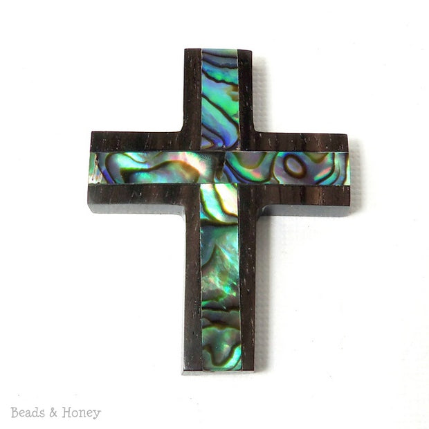 Ebony Wood Cross with Abalone Shell Focal Pendant 40x30mm (1pc)