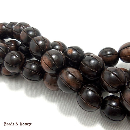 Ebony Wood Round Carved with Groove 13mm (Full Strand)