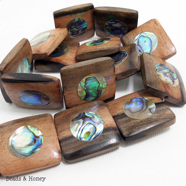 Ebony Wood with Abalone Shell Square 25x23mm (8pcs)
