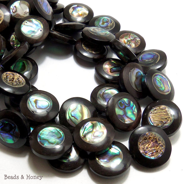 Ebony Wood with Abalone Shell Coin Flat 22mm (9pcs)