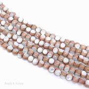 Rosewood Bead Inlaid with White Mother of Pearl Round 6mm (8-Inch Strand)