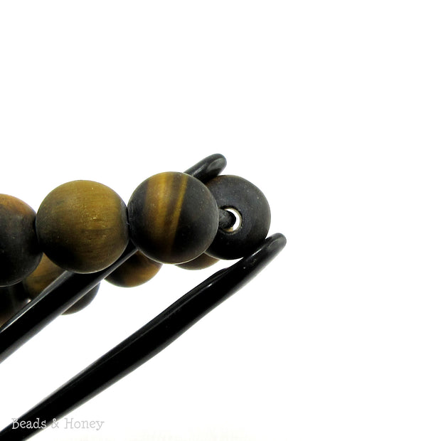 Dakota Stones Matte Tiger Eye Large Hole Bead Round 10mm (8-Inch Strand)