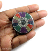 Vintage Sawdust Resin Pendant Red/Purple/Green/Blue Abstract Wheel Design 38mm (1pc)