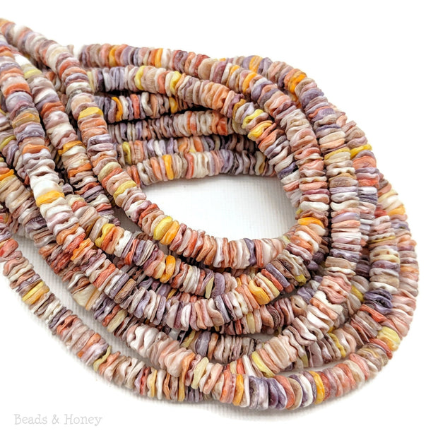 Pecten Shell Bead Multicolored Heishi 4-5mm (16-Inch Strand)