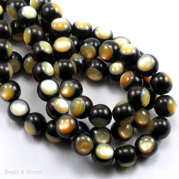 Ebony Wood Bead Inlaid with Gold Mother of Pearl Round 10mm (8-Inch Strand)