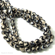 Fired Agate Black Striped S Wave Faceted 8mm (14.5-15 Inch Strand)