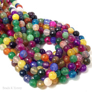 Rainbow Fired Agate Round Faceted 8mm (Full Strand)