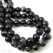 Fired Agate Bead Black/Cream Crackle Pattern Round 10mm (15.5 Inch Strand)