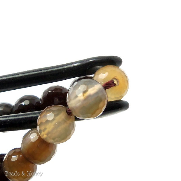 Fired Agate Bead Light/Dark Brown Round Faceted 8mm (15 Inch Strand)